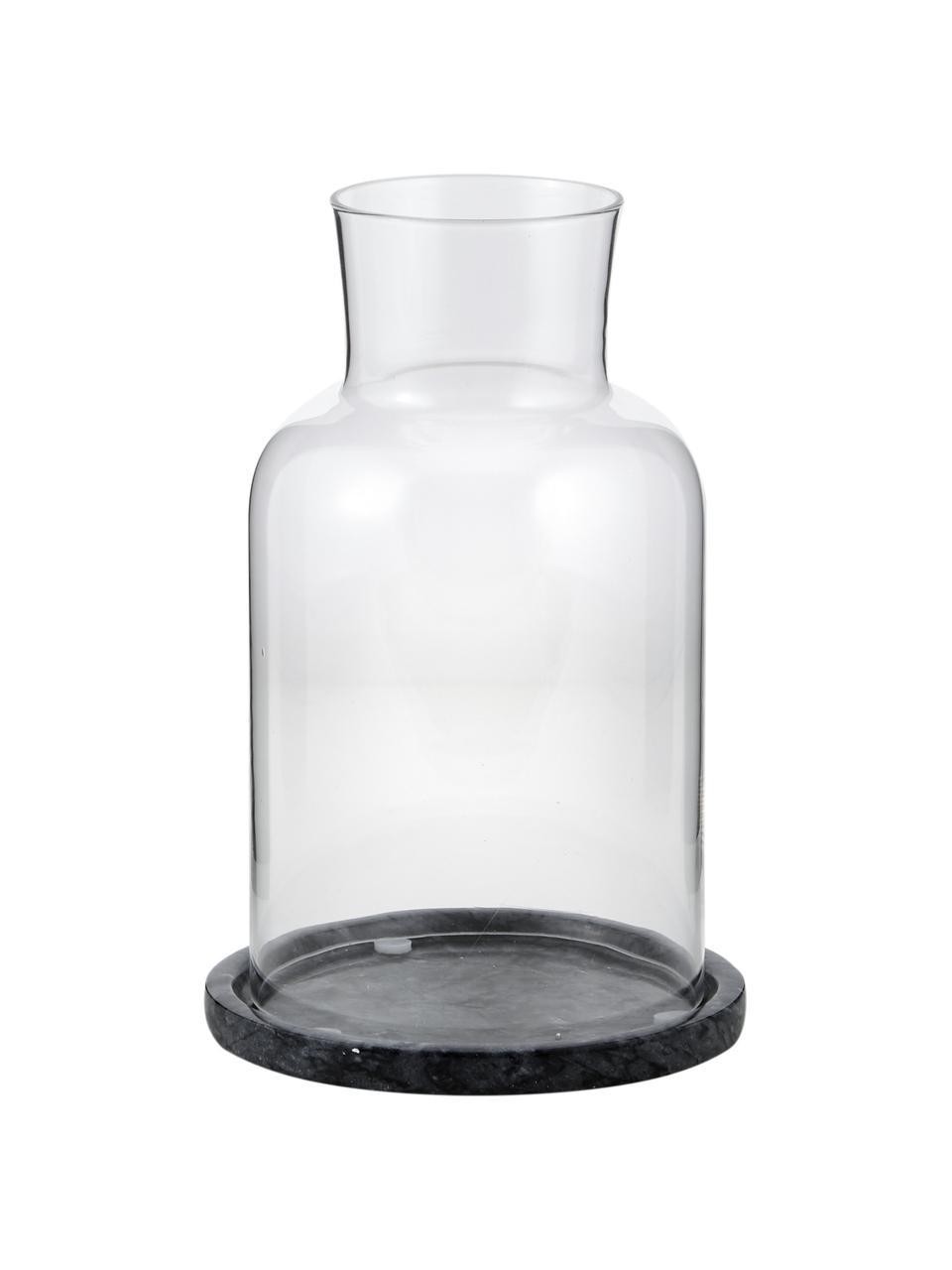 Marmeren windlicht Lindon, Glas, marmer, Zwart, gemarmerd, transparant, Ø 13 x H 22 cm
