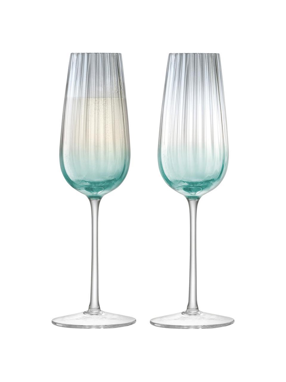 Handgemaakte champagneglazen Dusk met kleurverloop, 2 stuks, Glas, Groen, grijs, Ø 6 x H 23 cm