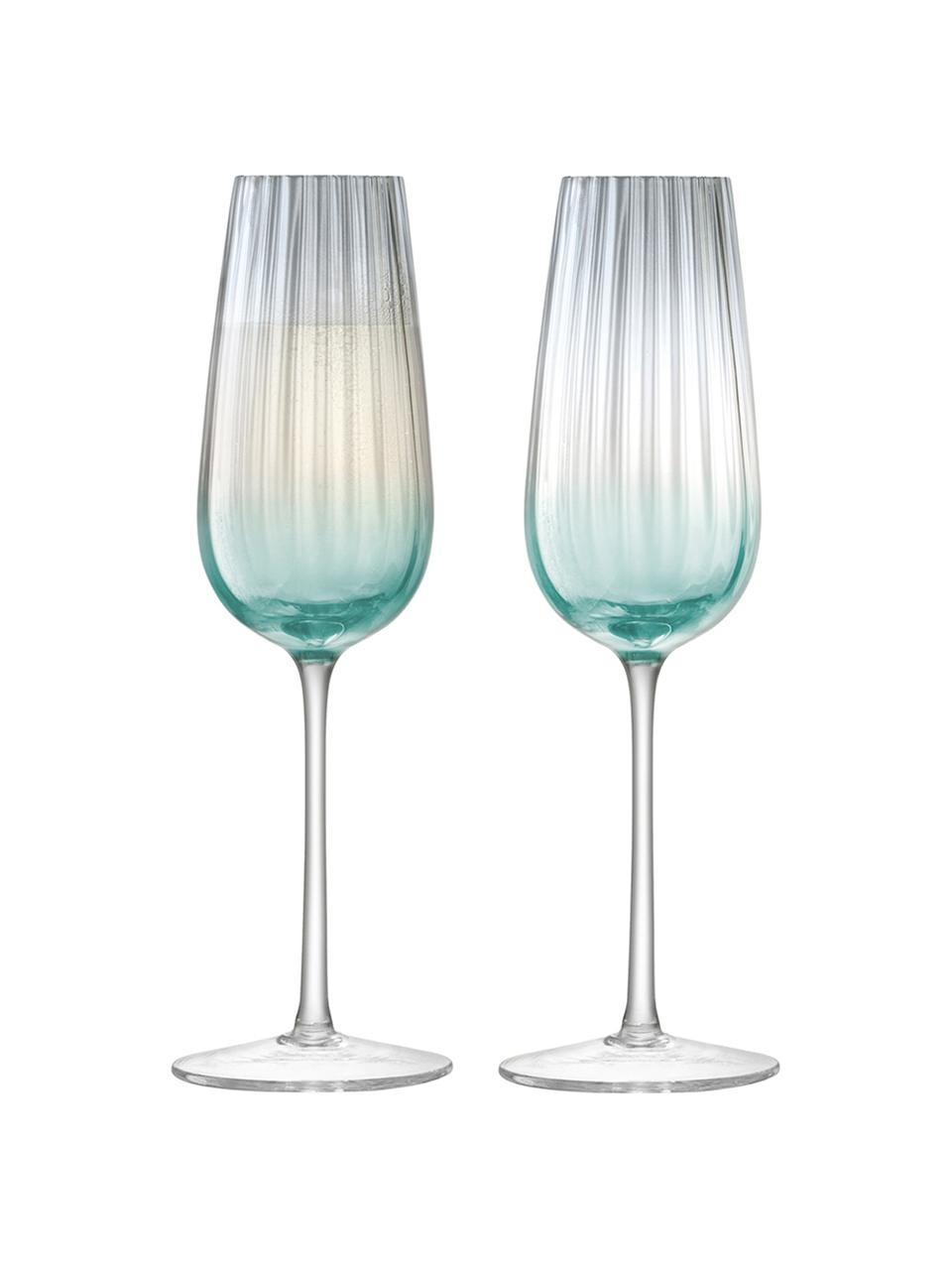 Ručně vyrobená sklenice na sekt sbarevným přechodem Dusk, 2 ks, Zelená, šedá
