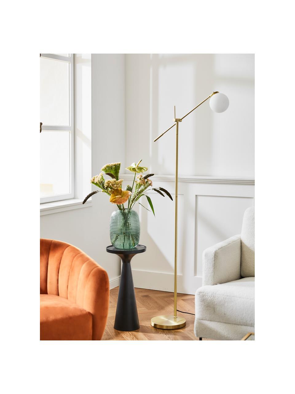 Lampa podłogowa ze szkła opalowego Moon, Osłona mocowania sufitowego i oprawa: mosiądz, szczotkowany Klosz: biały Kabel:, S 70 x W 162 cm