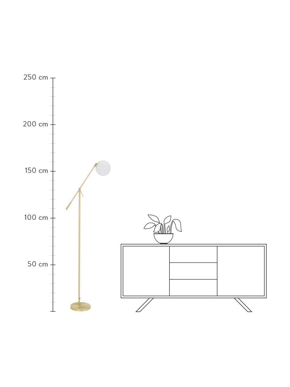 Stehlampe Moon aus Opalglas, Lampenschirm: Glas, Lampenfuß: Metall, vermessingt, Baldachin und Fassung: Messing, gebürstetLampenschirm: WeißKabel: Schwarz, B 70 x H 162 cm