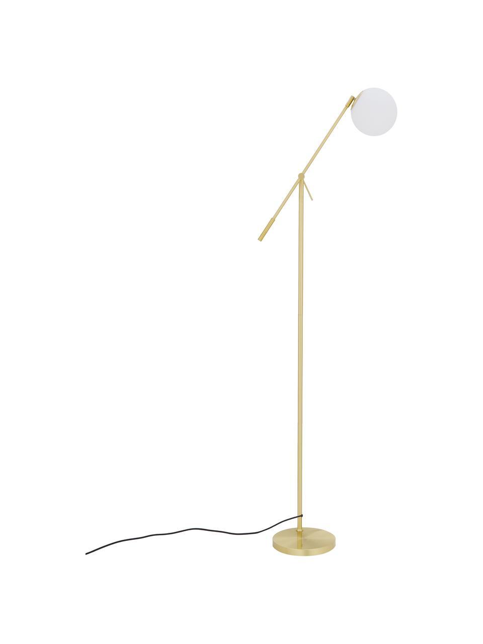 Lampada da terra in vetro opale Moon, Paralume: vetro, Base della lampada: metallo ottonato, Baldacchino e rilegatura: ottone spazzolato paralume: bianco cavo: nero, Ø 17 x Alt. 162 cm