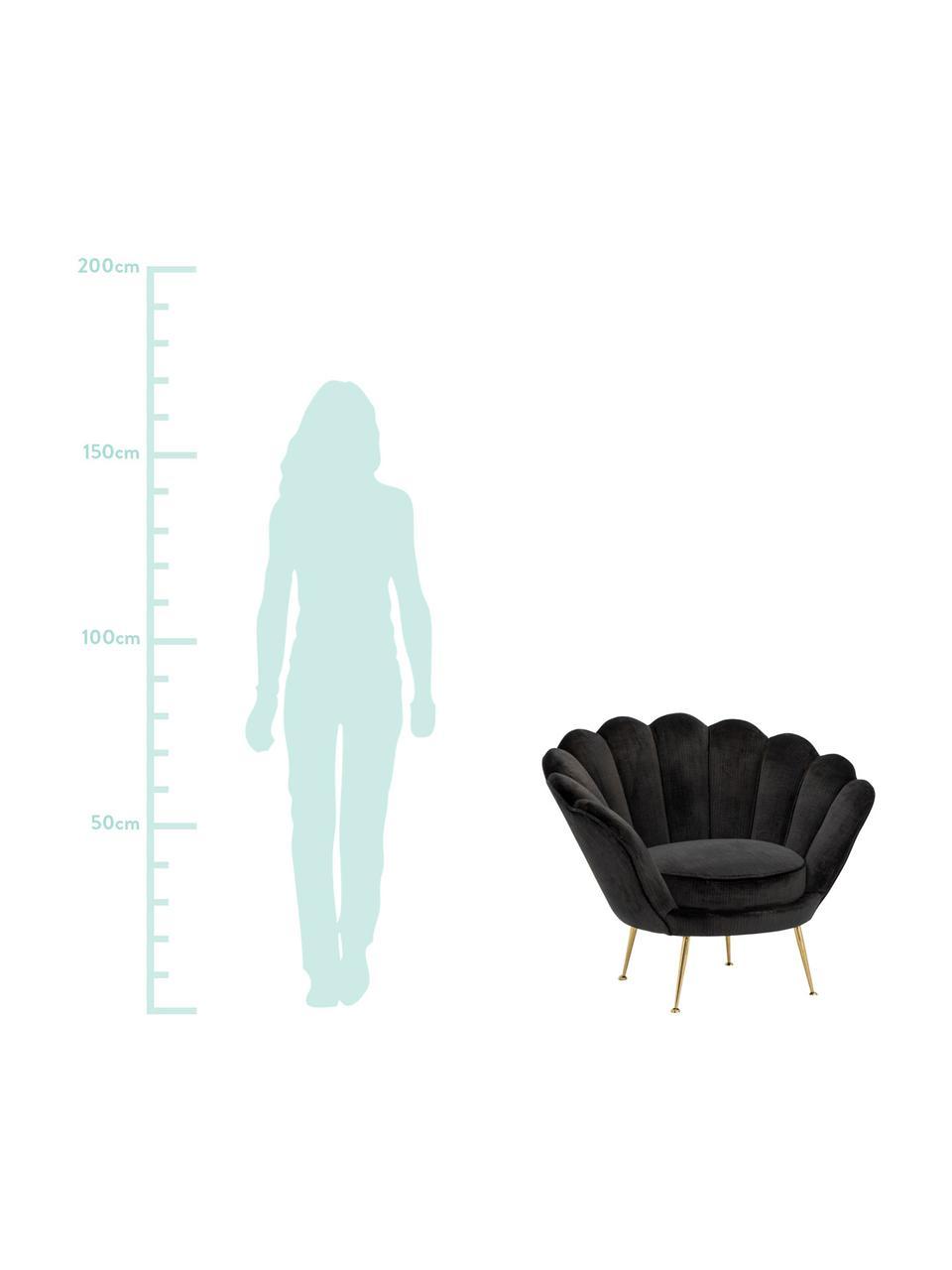 Fotel koktajlowy z aksamitu Trapezium, Tapicerka: 70% wiskoza, 30% polieste, Nogi: metal powlekany, Aksamitny czarny, S 97 x G 79 cm