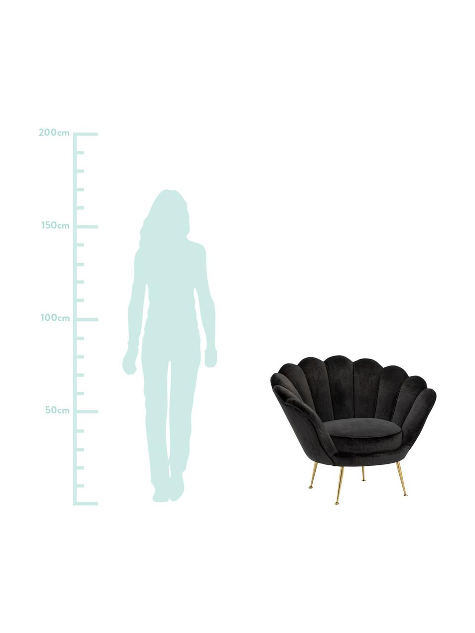 Samt-Cocktailsessel Trapezium in Schwarz, Bezug: 70% Viskose, 30% Polyeste, Füße: Metall, beschichtet, Samt Schwarz, B 97 x T 79 cm