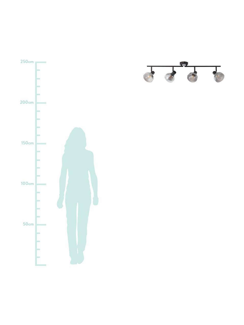 Faretti da soffitto in vetro Reflekt, Paralume: vetro, Baldacchino: metallo, Nero, grigio trasparente, Larg. 89 x Alt. 20 cm