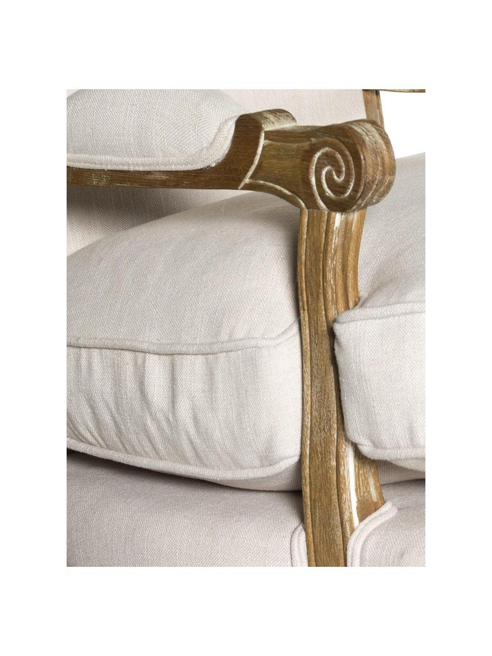 Sillón Elena, Estructura: madera de roble, Tapizado: algodón, Beige, An 74 x Al 100 cm