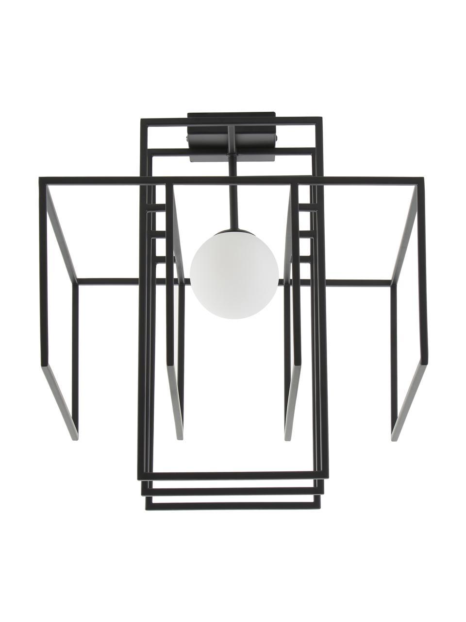Design Deckenleuchte Rubic mit Glasschirm, Lampenschirm: Opalglas, Baldachin: Metall, pulverbeschichtet, Schwarz, 40 x 43 cm