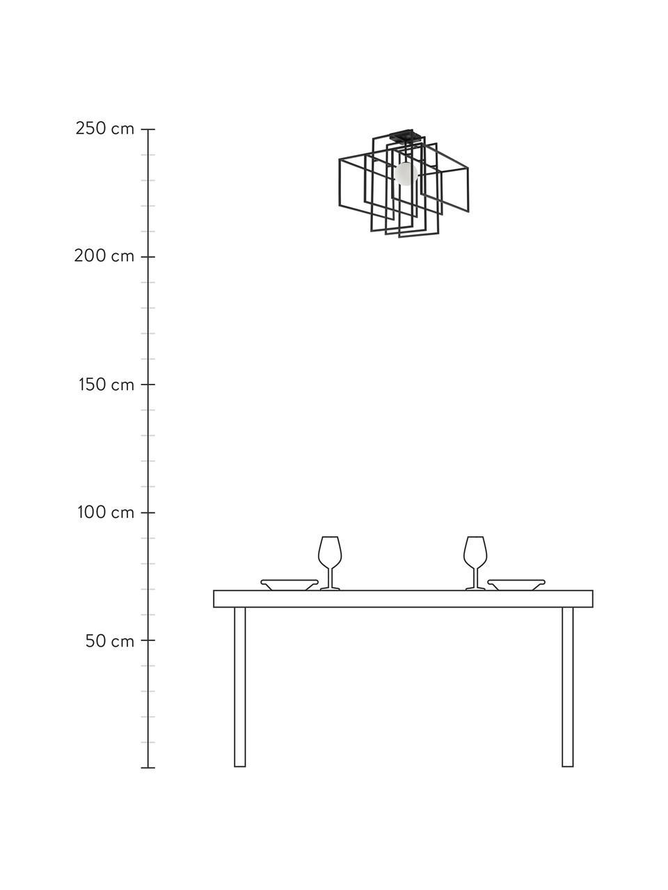 Lampada da soffitto nera con paralume in vetro Rubic, Struttura: metallo verniciato a polv, Paralume: vetro opale, Baldacchino: metallo verniciato a polv, Nero, Larg. 40 x Alt. 43 cm