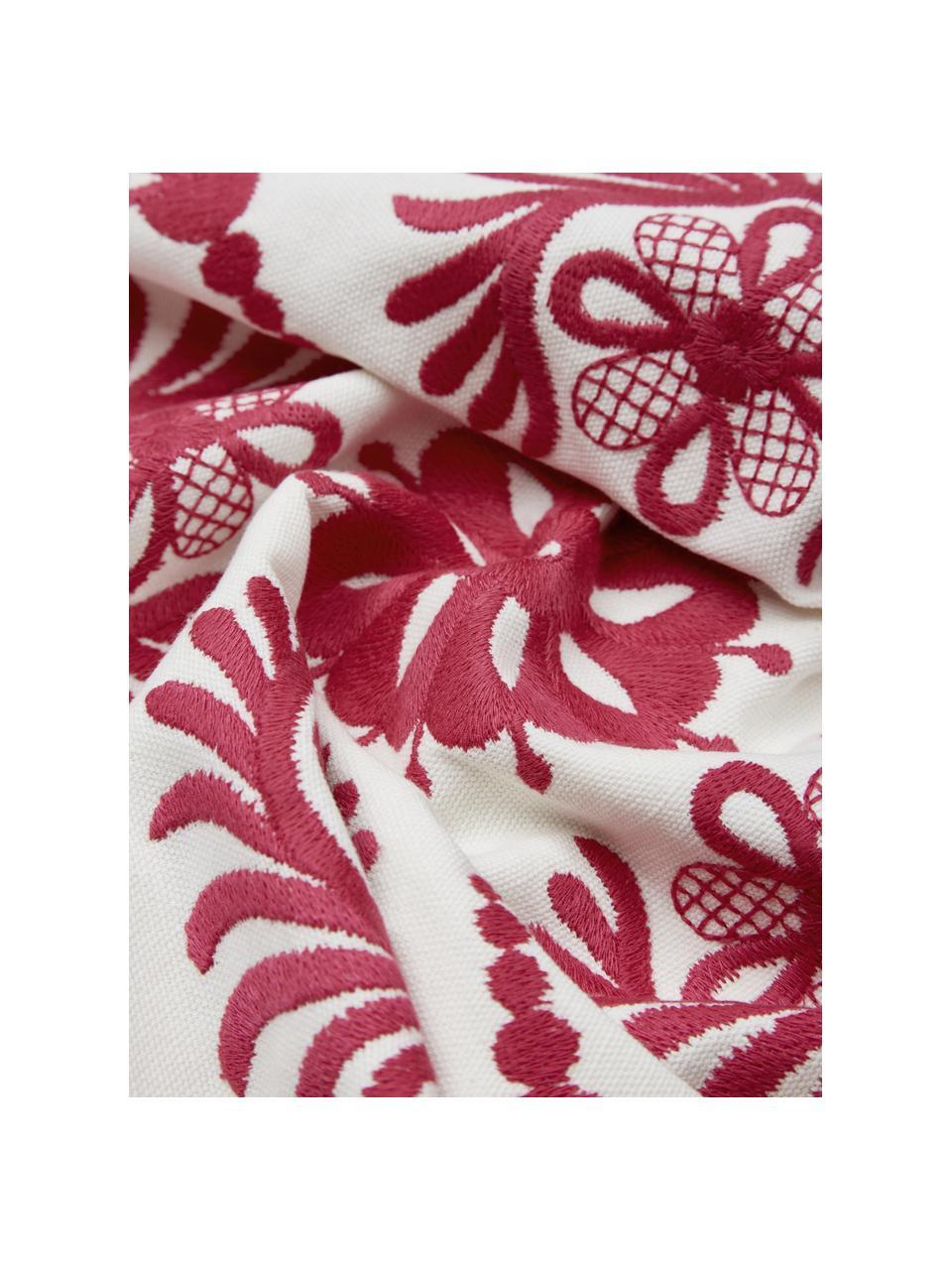 Kissenhülle Folk mit Stickerei, 100% Baumwolle, Rosa,Weiß, 45 x 45 cm