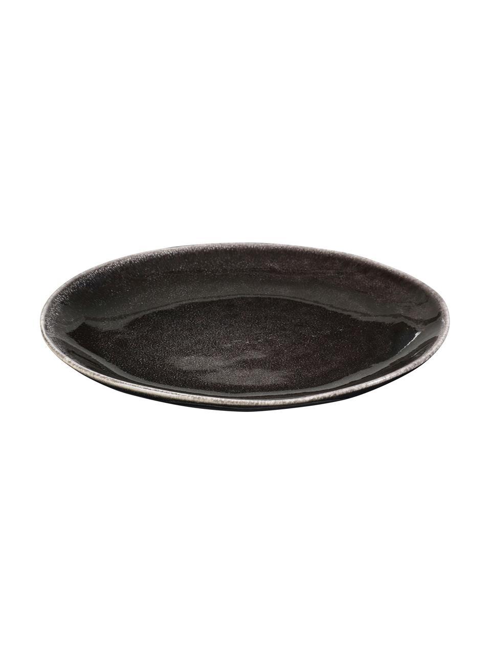 Ręcznie wykonany talerz śniadaniowy z kamionki Nordic Coal, 4 szt., Kamionka, Brązowy, Ø 20 x W 2 cm