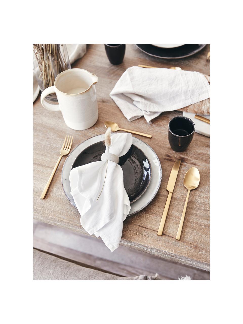 Handgemaakte ontbijtborden Nordic Coal, 4 stuks, Keramiek, Bruin, Ø 20 x H 2 cm