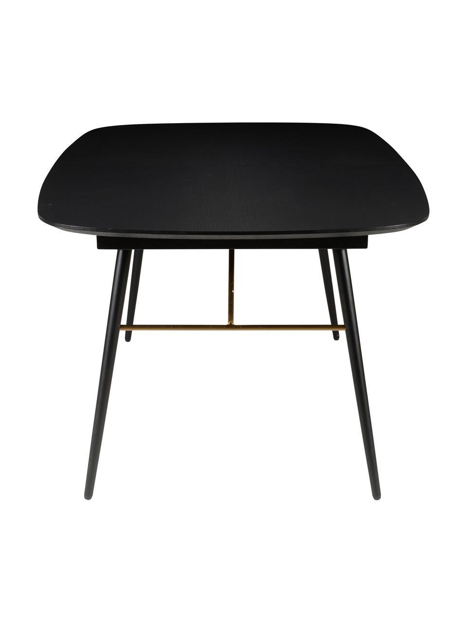 Stół rozkładany do jadalni Verona, Blat: płyta pilśniowa średniej , Czarny, mosiądz, S 180 do 230 x G 105 cm