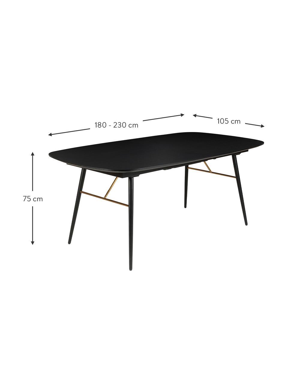 Ausziehbarer Esstisch Verona in Schwarz, Tischplatte: Mitteldichte Holzfaserpla, Schwarz, B 180 x T 105 cm