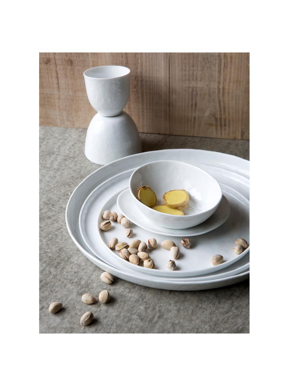 Frühstücksteller Porcelino mit unebener Oberfläche, 4 Stück, Porzellan, gewollt ungleichmäßig, Weiß, Ø 22 cm