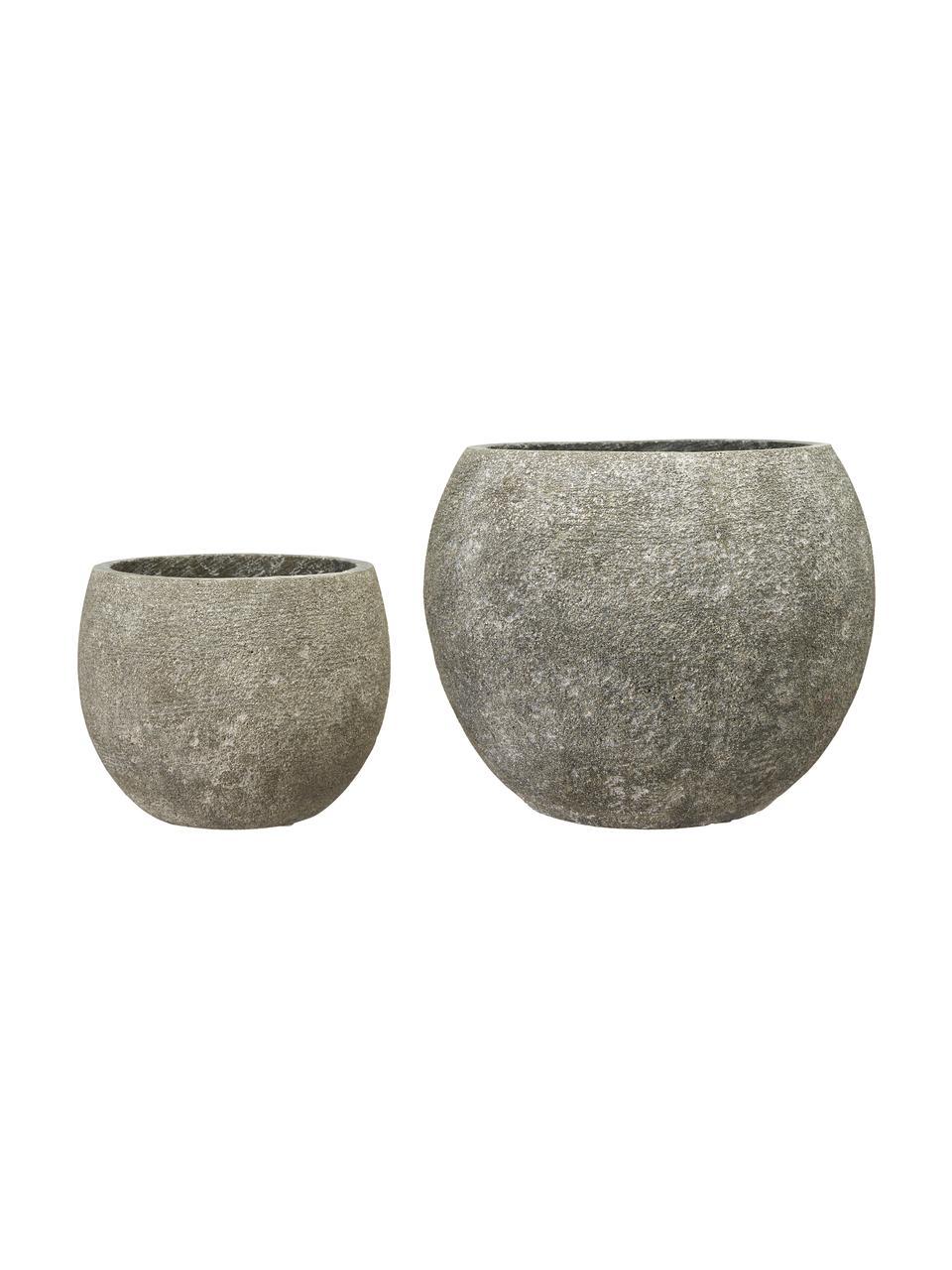 Komplet dużych osłonek na doniczkę Klara, 2 elem., Beton, Szary, Komplet z różnymi rozmiarami
