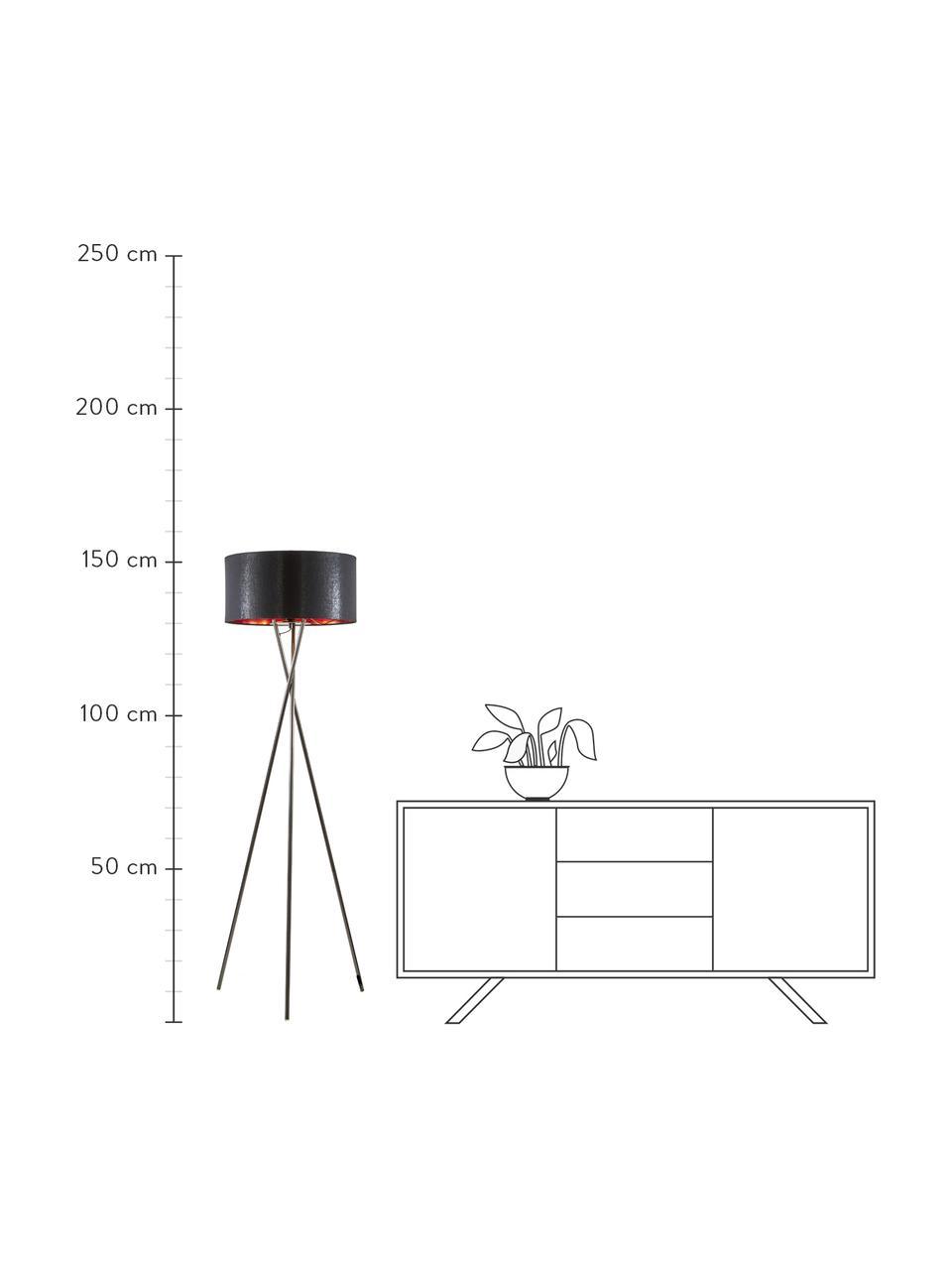 Driepoot vloerlamp Giovanna met koperen decoratie, Lampvoet: staal, zwart verchroomd, Zwart, koperkleurig, Ø 45 x H 154 cm