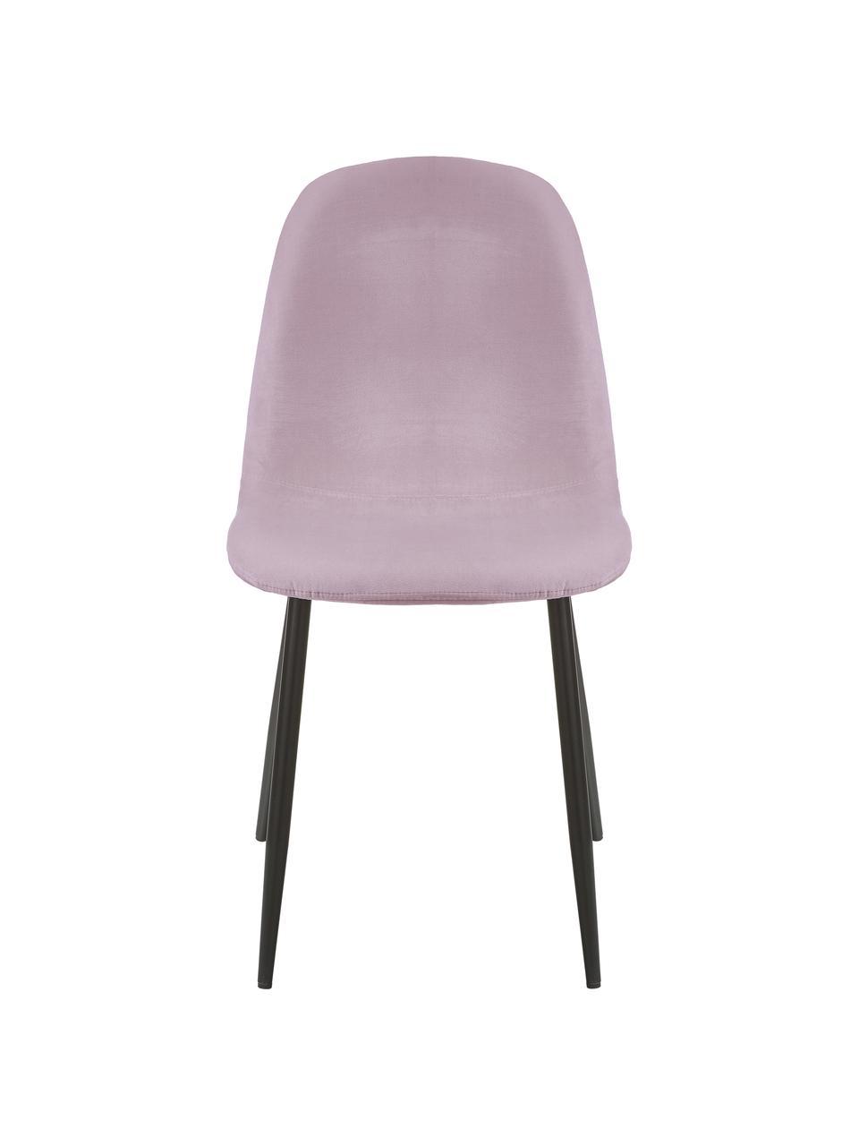 Sedia imbottita in velluto rosa Karla 2 pz, Rivestimento: velluto (100% poliestere), Gambe: metallo verniciato a polv, Velluto rosa, Larg. 44 x Alt. 53 cm