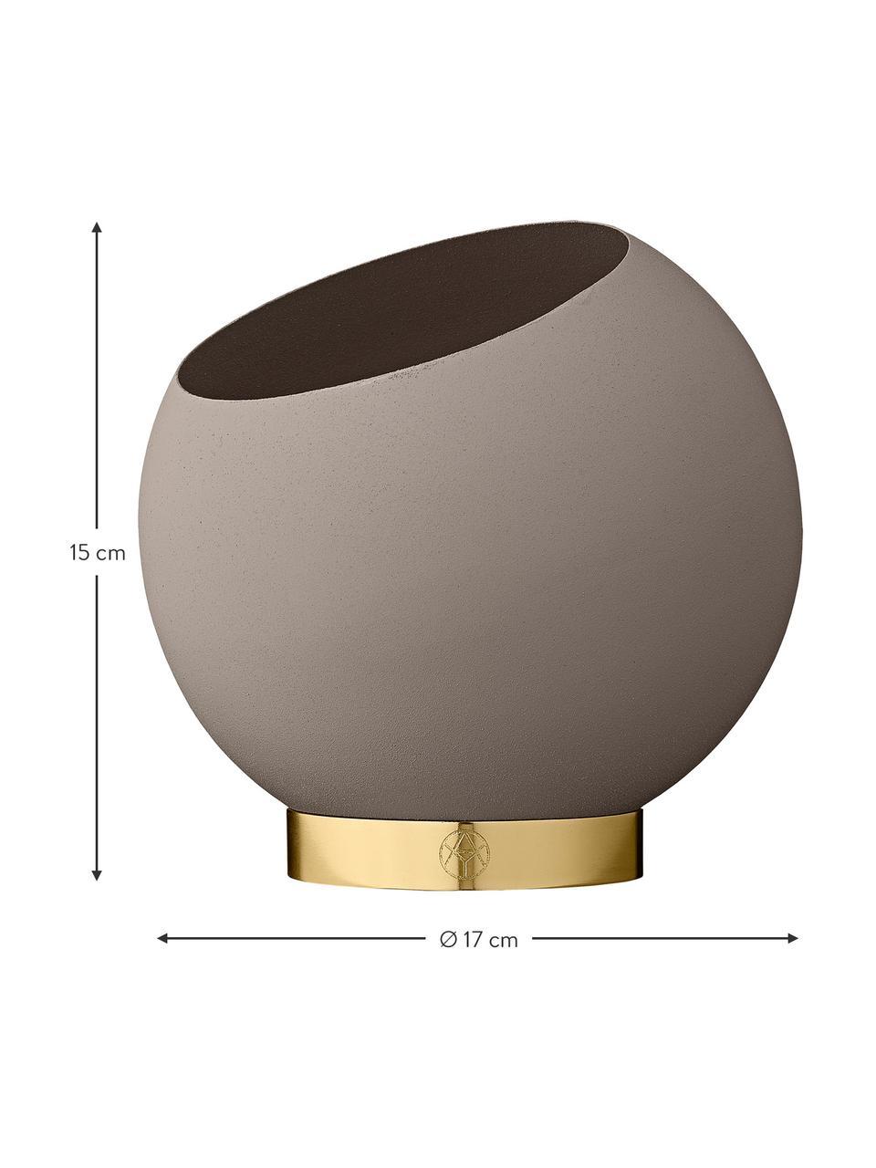 Übertopf Globe aus Metall, Übertopf: Metall, pulverbeschichtet, Fuß: Edelstahl, beschichtet un, Taupe, Ø 17 x H 15 cm