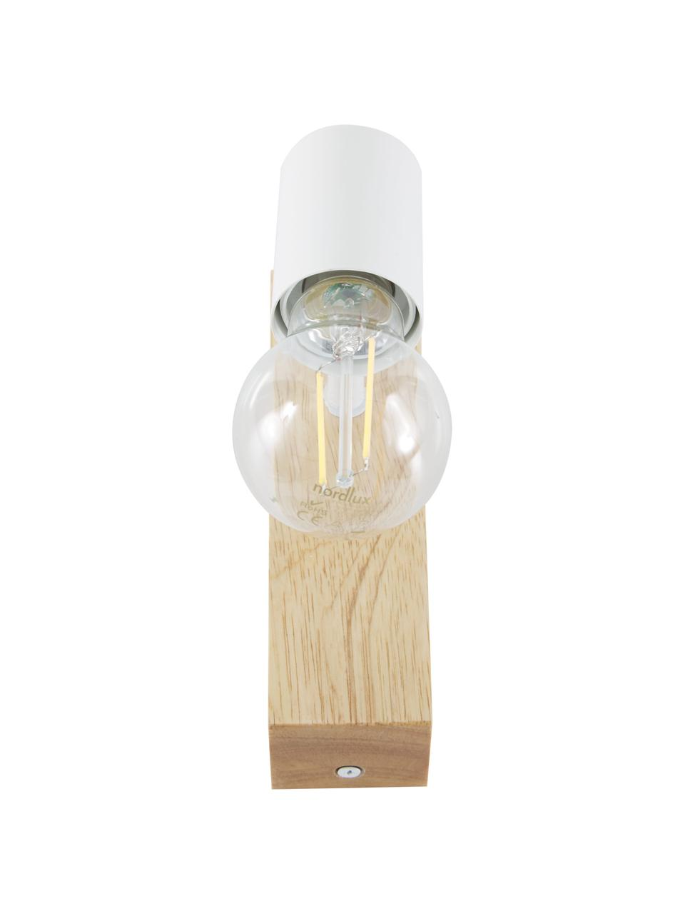 Applique con base in legno Townshend, Bianco, legno, Larg. 5 x Alt. 17 cm