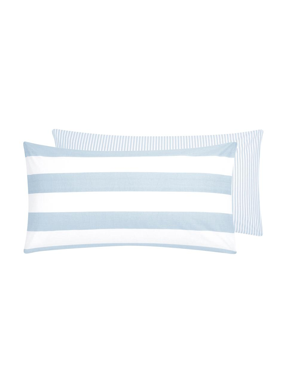 Oboustranný pruhovaný povlak na polštář z bavlny Lorena, 2 ks, Světle modrá