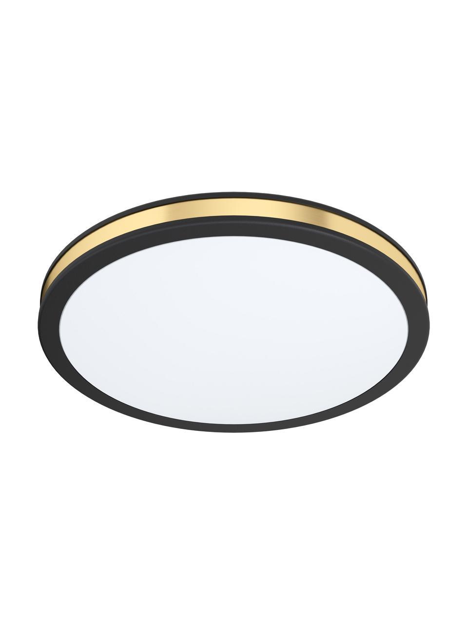 Plafoniera LED Pescaito, Paralume: materiale sintetico, Baldacchino: metallo verniciato, Nero, dorato, Ø 28 x Alt. 7 cm