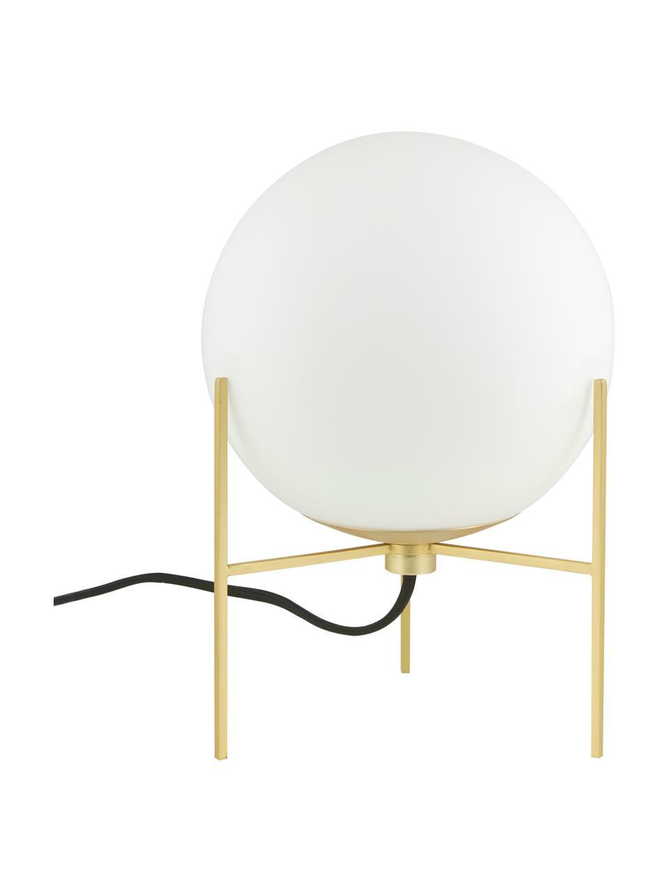 Kleine Tischlampe Alton aus Opalglas, Lampenfuß: Messing, Lampenschirm: Opalglas, Messing, Weiß, Ø 20 x H 29 cm