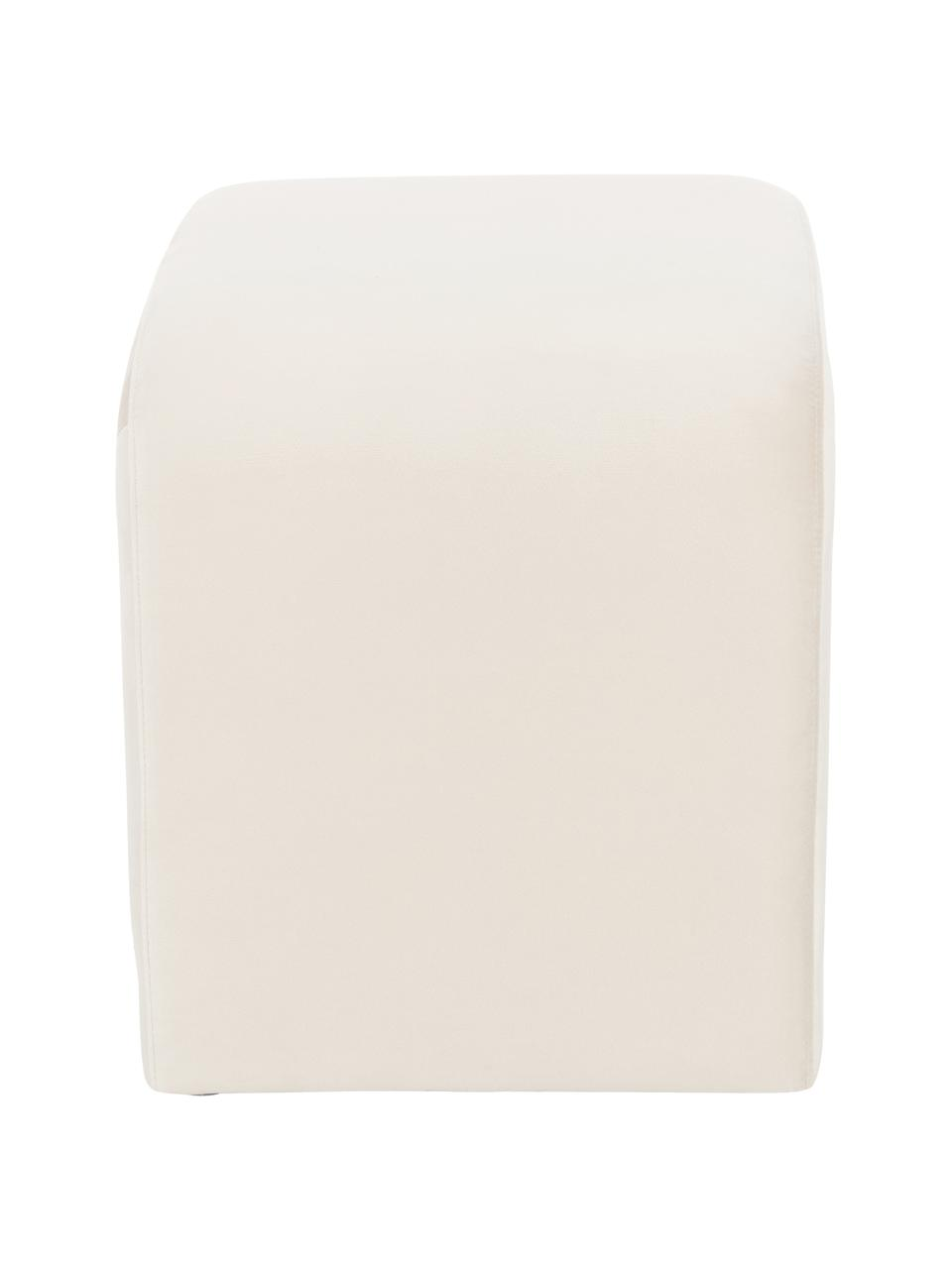 Fluwelen kruk Penelope, Bekleding: fluweel (polyester), Frame: metaal, spaanplaat, Crèmewit, 61 x 46 cm