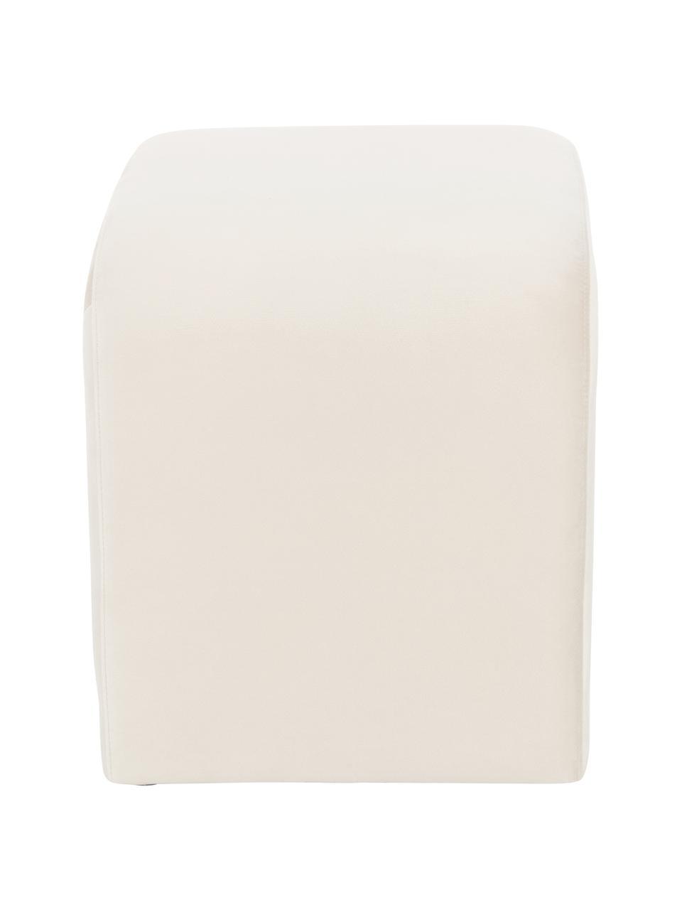 Stołek z aksamitu Penelope, Tapicerka: aksamit (poliester) 2500, Stelaż: metal, płyta wiórowa, Kremowobiały, S 61 x W 46 cm
