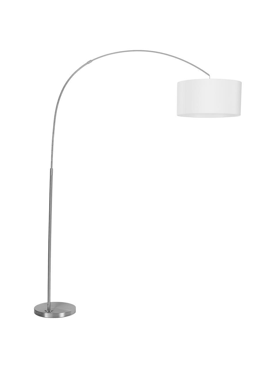 Lampada ad arco moderna Niels, Paralume: miscela di cotone, Base della lampada: metallo spazzolato, Paralume: bianco Base della lampada: cromo Cavo: trasparente, Larg. 157 x Alt. 218 cm