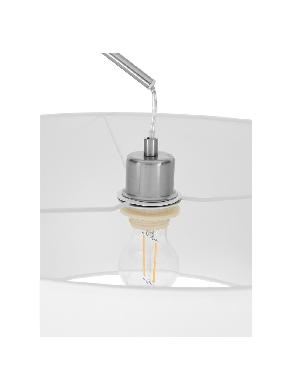 Grand lampadaire arc moderne Niels, Blanc, chrome, transparent