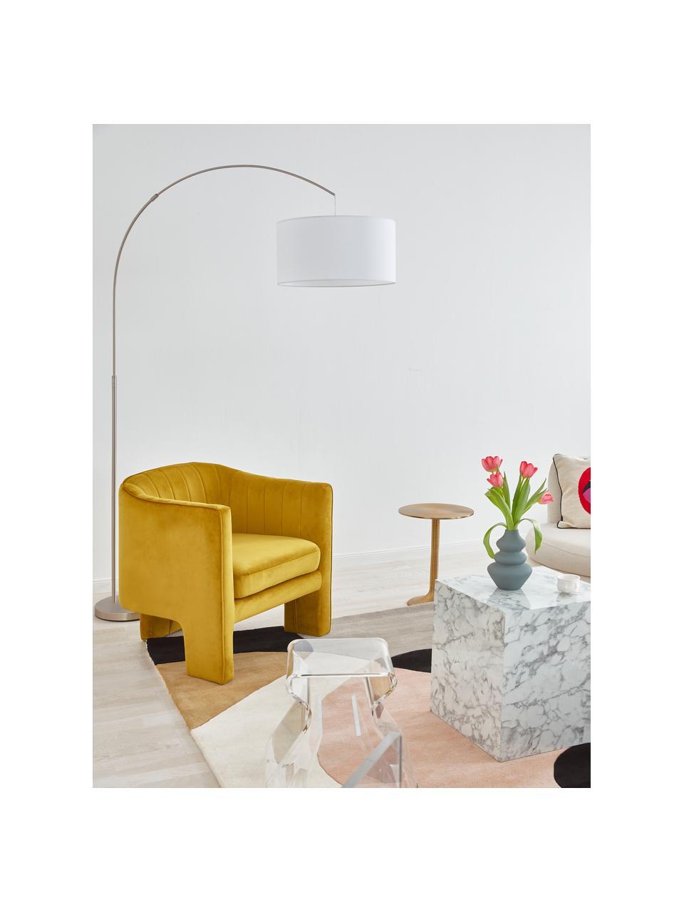 Lampa podłogowa w kształcie łuku Niels, Biały, chrom, transparentny, S 157 x W 218 cm