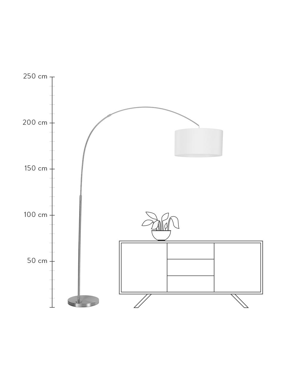 Große Bogenlampe Niels in Chrom, Lampenfuß: Metall, gebürstet, Lampenschirm: Textil, Weiß, Chrom, Transparent, Ø 50 x H 218 cm