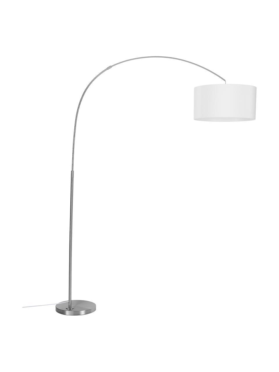 Lampada ad arco cromata Niels, Base della lampada: metallo spazzolato, Paralume: tessuto, Bianco, cromo, trasparente, Ø 50 x Alt. 218 cm