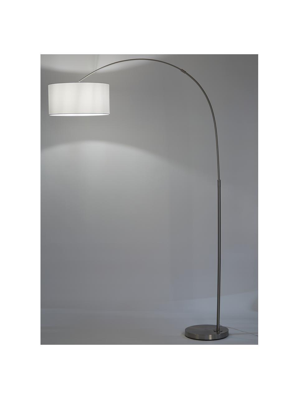 Grote booglamp Niels in chroom, Lampenkap: katoenmix, Lampvoet: geborsteld metaal, Lampenkap: wit. Lampvoet: chroomkleurig. Snoer: transparant, 157 x 218 cm