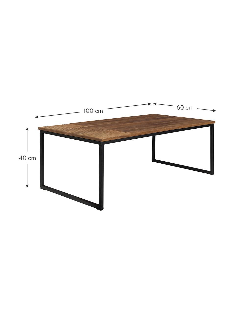 Massief houten salontafel Randi in industrieel design, Tafelblad: mangohout, massief, Frame: gepoedercoat ijzer, Tafelblad: mangohoutkleurig. Poten: zwart, 110 x 40 cm