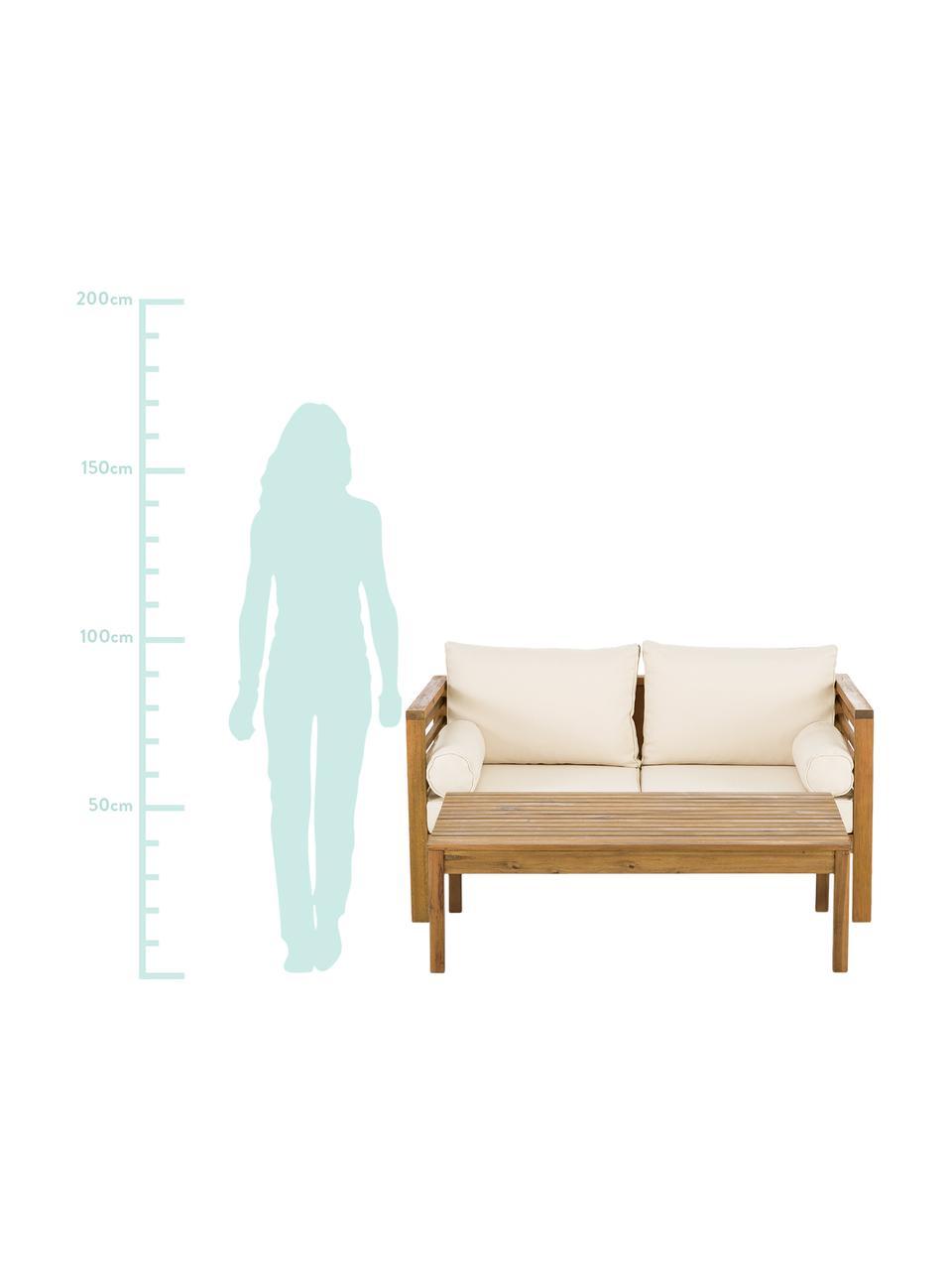 Salotto da giardino Bo 4 pz, Rivestimento: poliestere (resistente ai, Rivestimento: beige Struttura: legno d'acacia, Set in varie misure