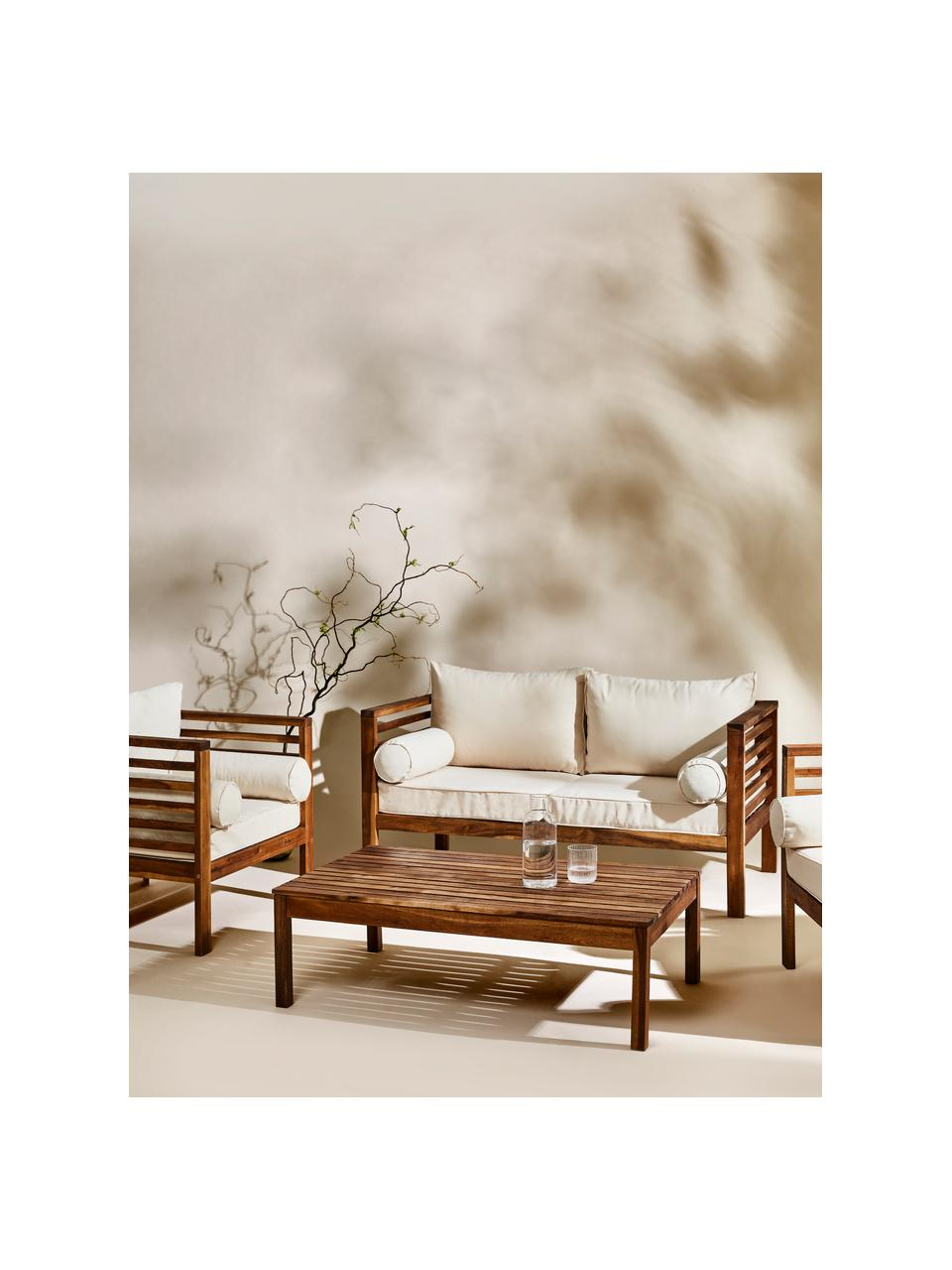 Garten-Lounge-Set Bo, 4-tlg., Gestell: Massives Akazienholz, geö, Bezüge: Beige, Gestelle: Akazienholz, Sondergrößen