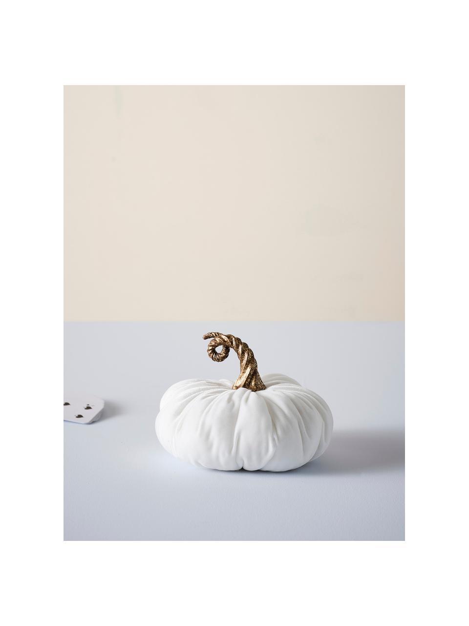 Zucca decorativa in velluto Pumpis, 15% poliresina, 35% acrilico, 25% poliestere, 25% riempimento con sabbia di quarzo, Bianco, Ø 16 x Alt. 15 cm