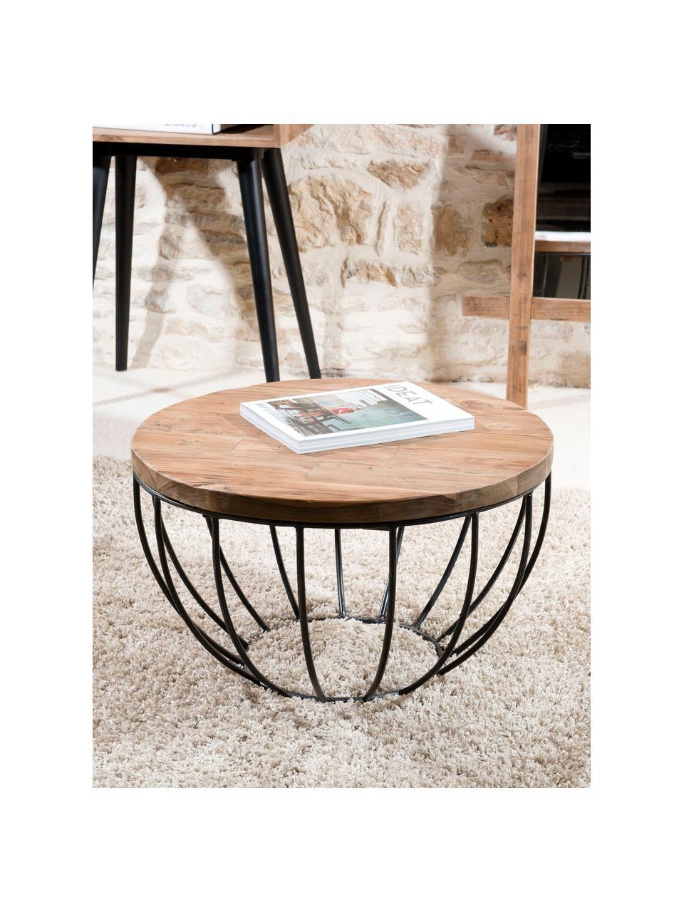 Tavolino da salotto rotondo con piano in teak Sixtine, Piano d'appoggio: legno di teak riciclato, Struttura: metallo verniciato, Legno di teak, nero, Ø 60 x Alt. 35 cm