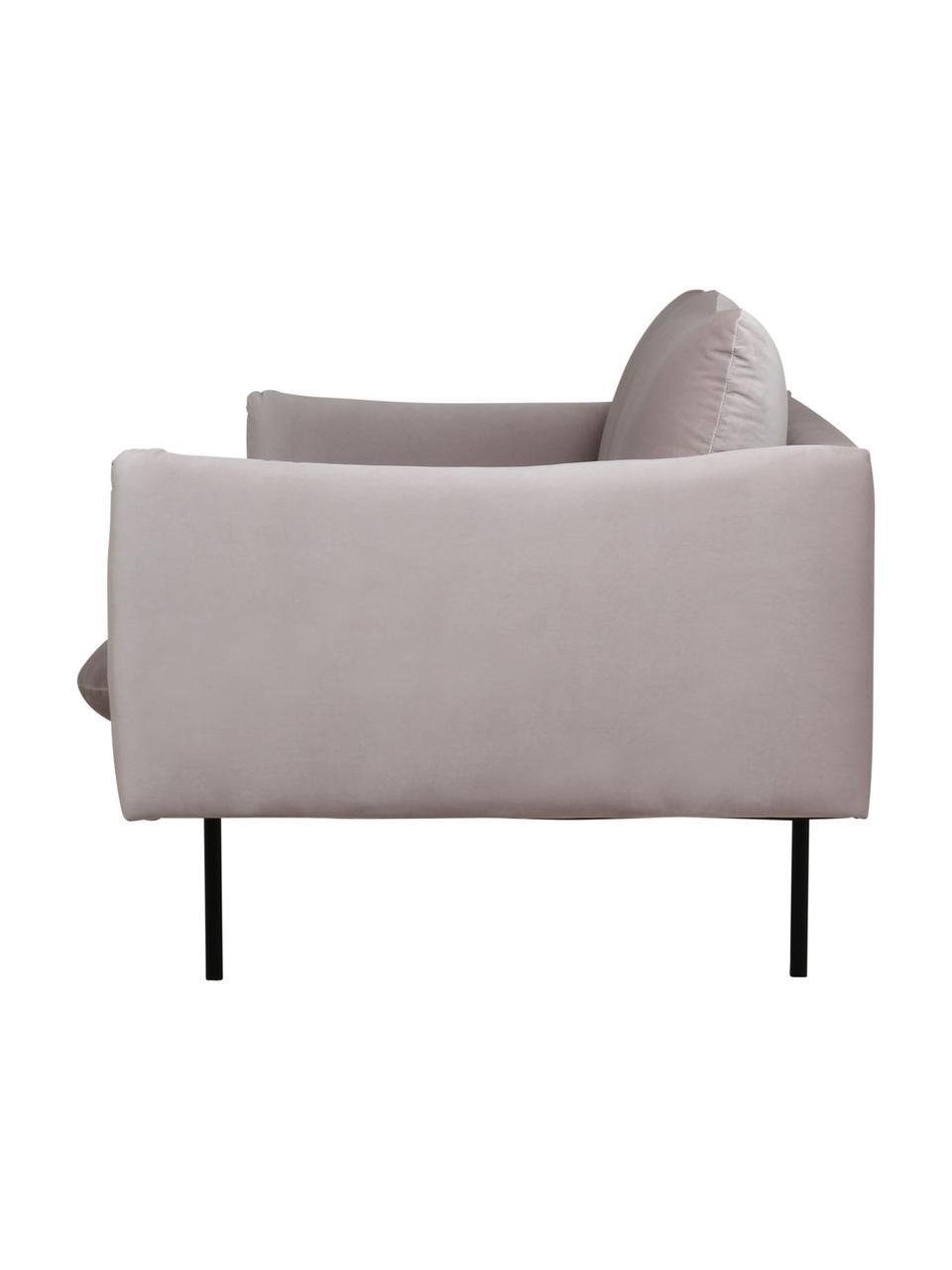 Canapé 3places velours taupe avec pieds en métal Moby, Velours beige