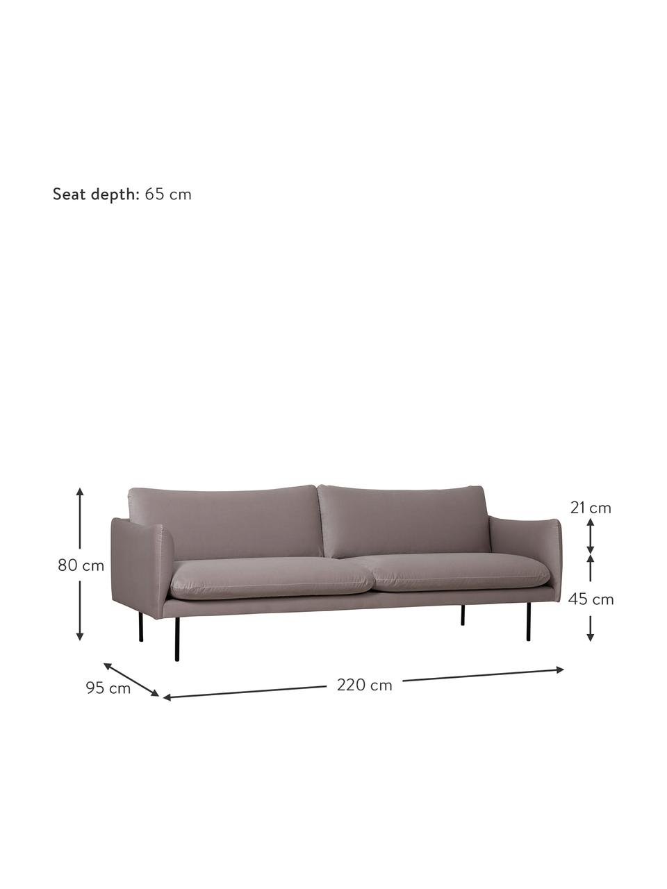 Samt-Sofa Moby (3-Sitzer) in Taupe mit Metall-Füßen, Bezug: Samt (Hochwertiger Polyes, Gestell: Massives Kiefernholz, Füße: Metall, pulverbeschichtet, Samt Taupe, B 220 x T 95 cm