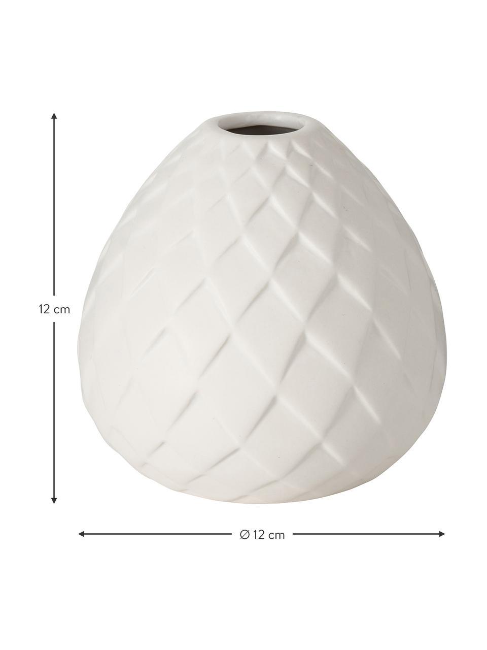 Ręcznie wykonany wazon z kamionki Fabyo, Kamionka, Biały, Ø 12 x W 12 cm