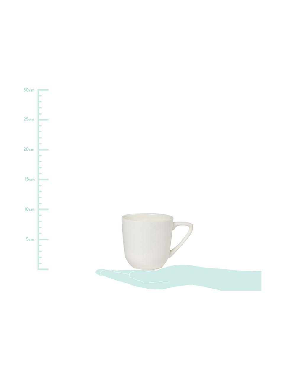 Tassen Nudge in Weiß matt/glänzend, 4 Stück, Porzellan, Creme, Ø 8 x H 8 cm