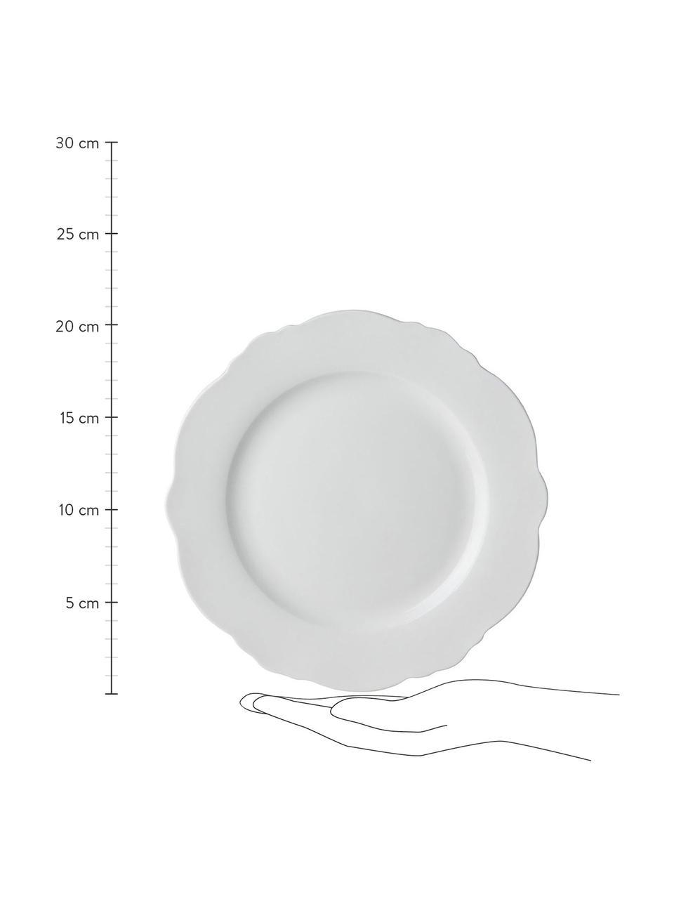 Frühstücksteller Muschel Loft mit geschwungenem Rand, 4 Stück, Porzellan, Weiß, Ø 21 x H 2 cm