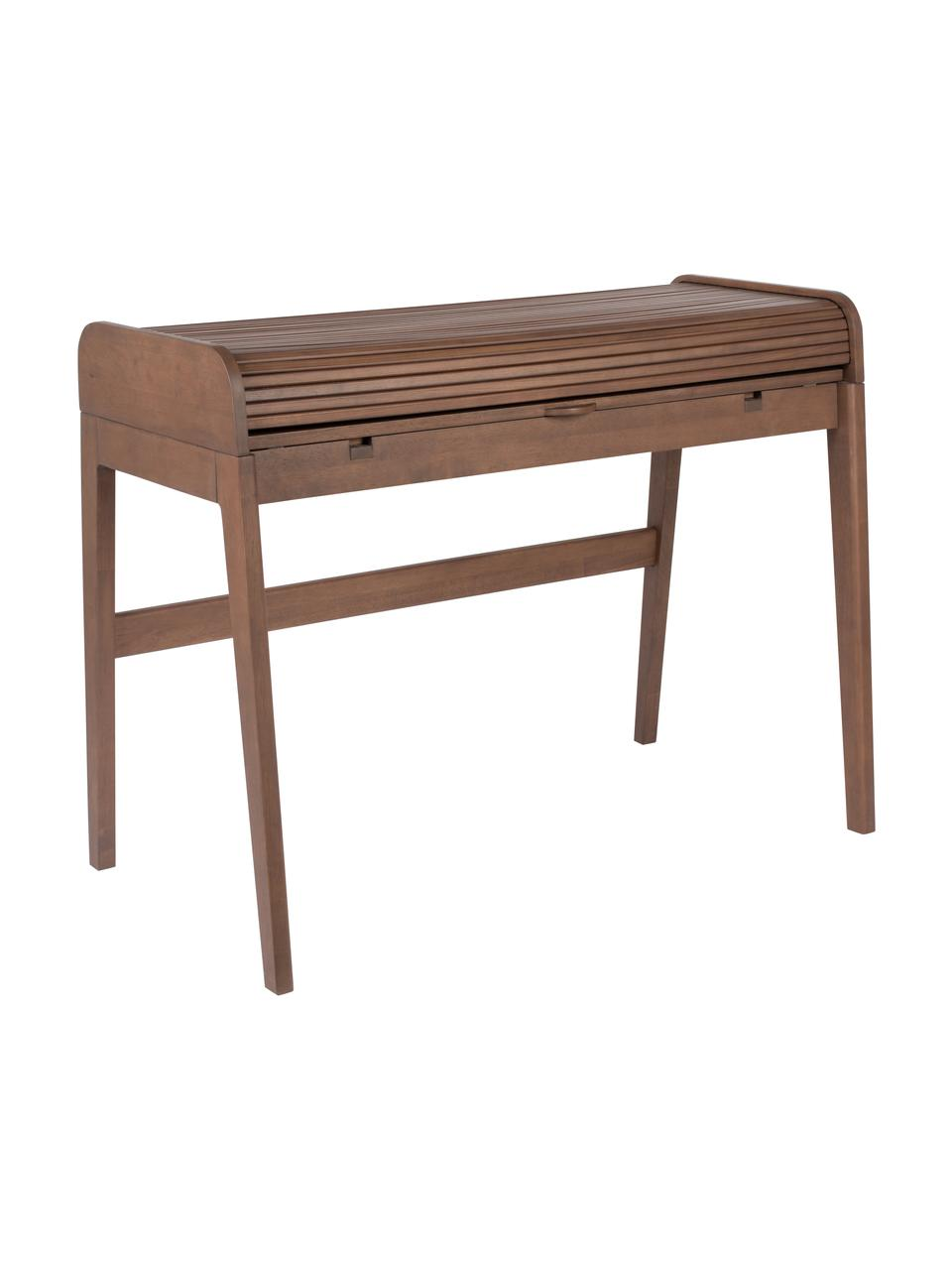 Biurko z drewna Barbier, Blat: płyta pilśniowa średniej , Drewno orzecha włoskiego, S 110 x W 85 cm