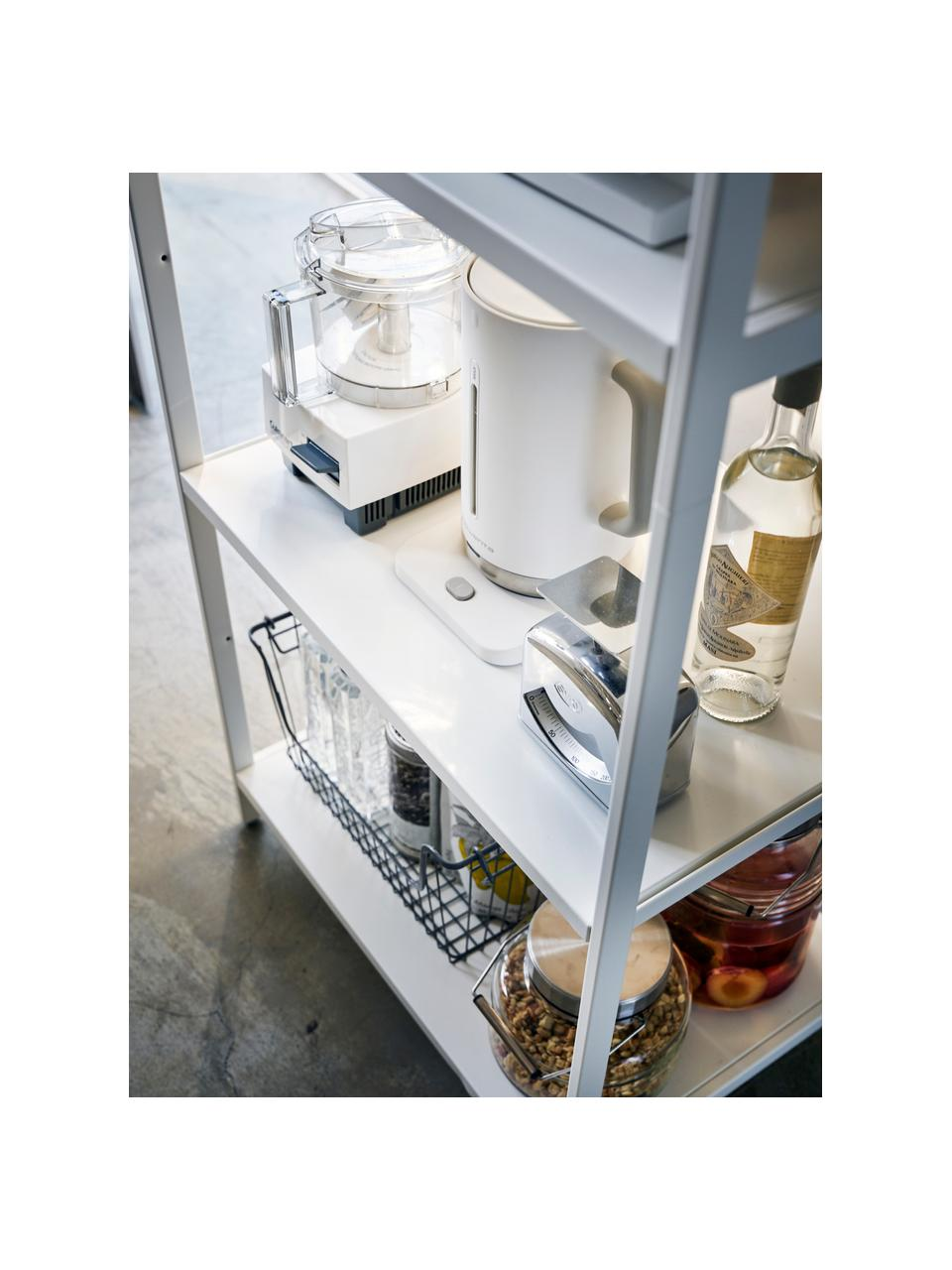 Scaffale in metallo bianco con porta asciugamani Killy, Scaffale: metallo verniciato a polv, Manico: legno, Bianco, Larg. 60 x Alt. 170 cm