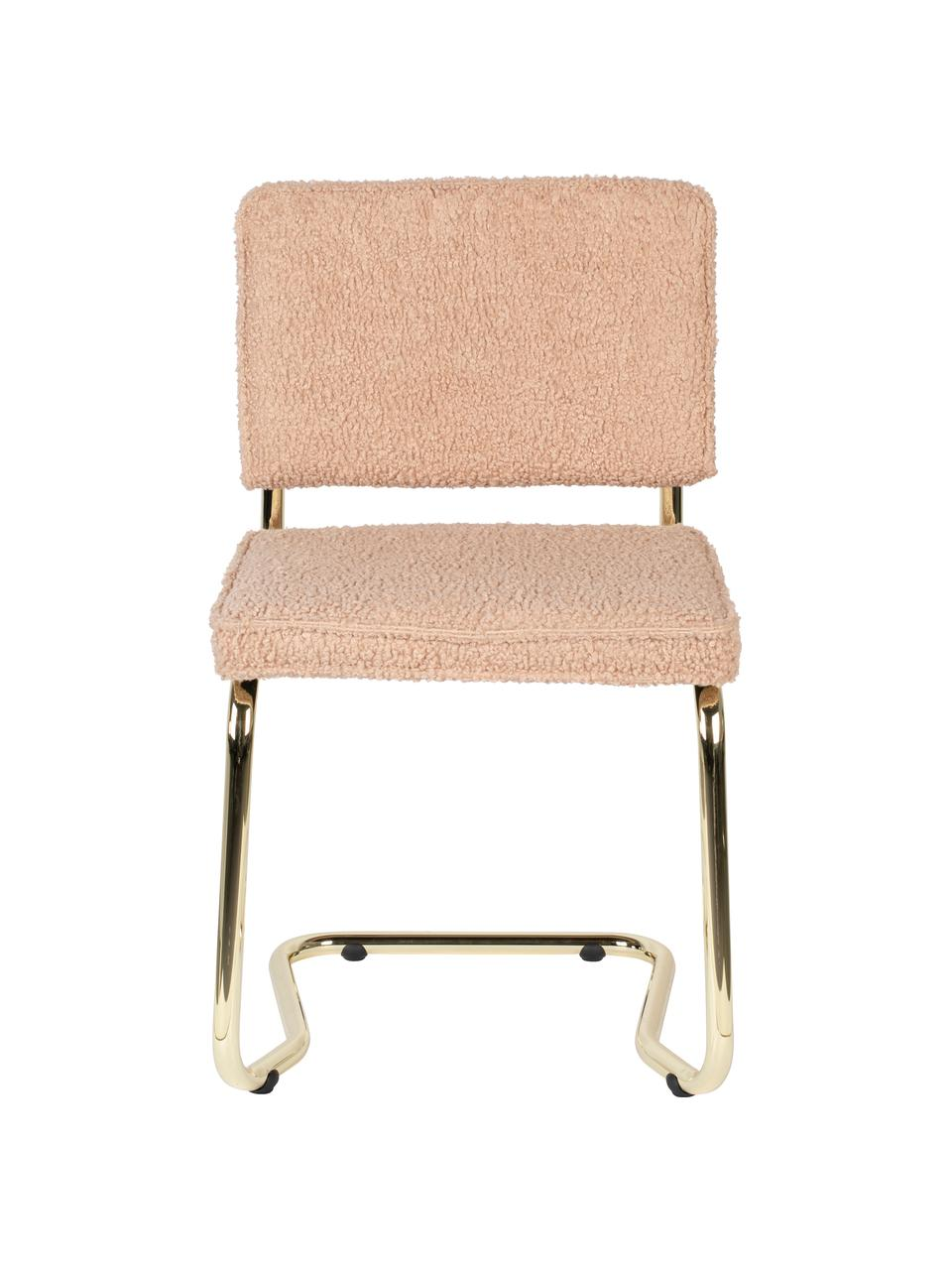 Teddy cantilever stoel Kink in roze, Bekleding: teddystof (100% polyester, Frame: gecoat metaal, Poten: kunststof, Roze, messingkleurig, 48 x 48 cm