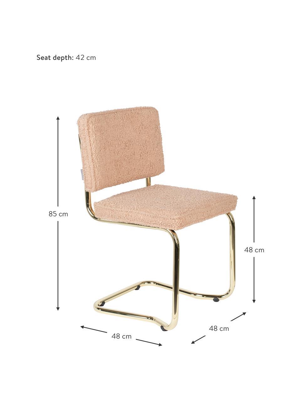 Krzesło podporowe Teddy Kink, Tapicerka: tkanina Teddy (100% polie, Nogi: tworzywo sztuczne, Blady różowy, odcienie mosiądzu, S 48 x G 48 cm