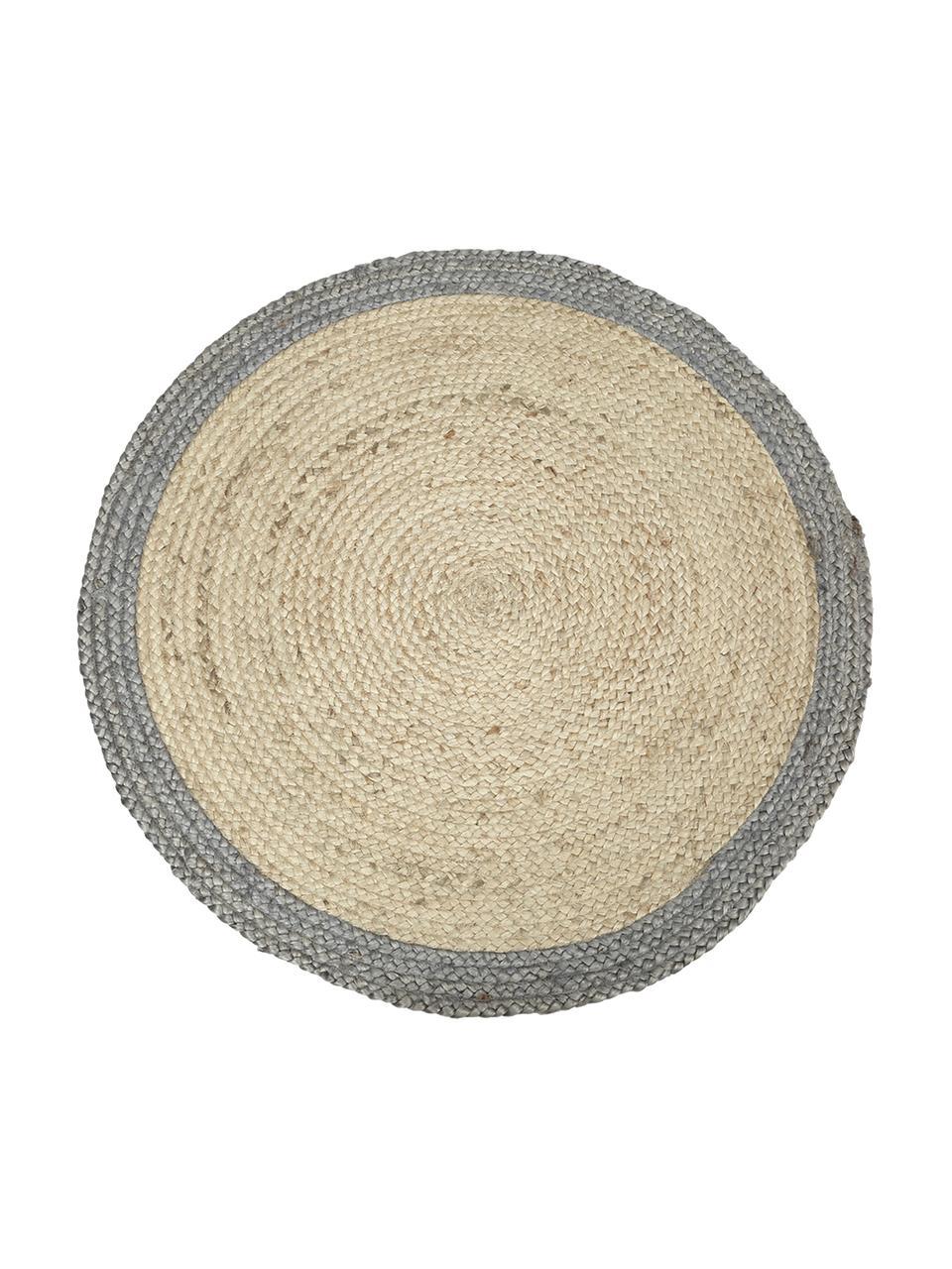 Tappeto rotondo in juta fatto a mano Shanta, 100% juta, Beige, grigio, Ø 100 cm (taglia XS)
