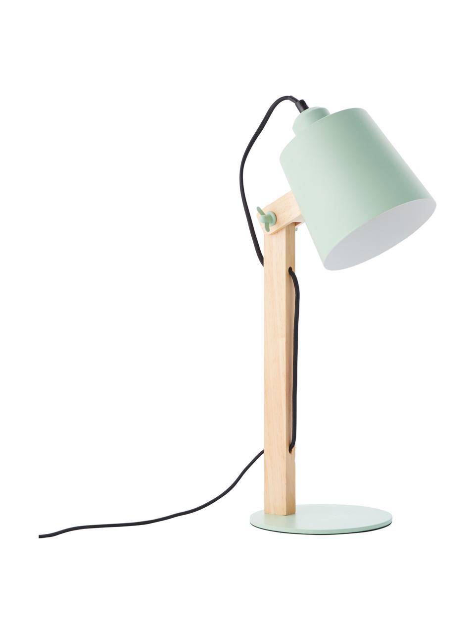 Duża lampa biurkowa Swive, Zielony miętowy, drewno naturalne, S 16 x W 52 cm